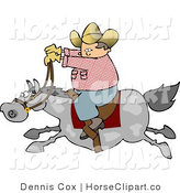 Clip Art of a Cowboy Riding a Gray Horse by Djart