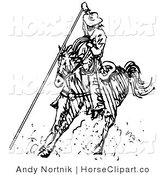 Clip Art of a Cowboy Riding a Horse Roping Something by Andy Nortnik