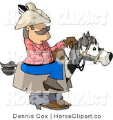 Clip Art of a Cowboy Riding a Stick Horse Halloween Costume by Djart
