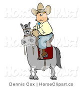 Clip Art of a Cowboy Riding in a High Horse Saddle by Djart