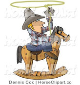 Clip Art of a Cowboy Roping on a Rocking Horse by Djart