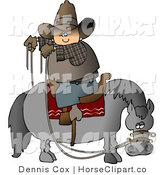 Clip Art of a Cowboy Saddled Backwards on a Horse by Djart