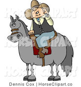 Clip Art of a Cowboy Stopped on His Horse and Using a Cell Phone by Djart