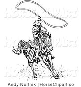 Clip Art of a Cowboy Swinging a Lasso While Riding a Horse on a White Background by Andy Nortnik