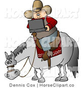 Clip Art of a Cowboy Using Laptop Computer on Horse by Djart