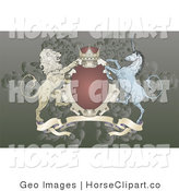 Clip Art of a Crown, Lion, and Blue Unicorn on a Red and Gold Coat of Arms by AtStockIllustration