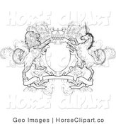Clip Art of a Crown, Lion, and Unicorn on a Coat of Arms in Black and White by AtStockIllustration