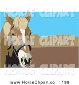 Clip Art of a Curious Brown Bridled Horse with Mountains and Blue Sky in the Background by David Rey