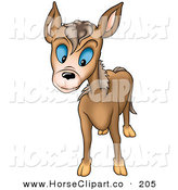 Clip Art of a Curious Brown Burro with Blue Eyes Looking Forward by Dero