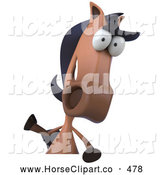 Clip Art of a Cute 3d Charlie Horse Character Facing Front and Waving over a Sign by Julos