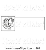 Clip Art of a Cute and Majestic Horse Head Profile over a Blank White Text Box by C Charley-Franzwa