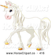 Clip Art of a Cute and Majestic White Unicorn Prancing with Gold Hooves by Pushkin