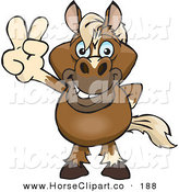 Clip Art of a Cute and Peaceful Horse Smiling and Gesturing the Peace Sign with His Hand by Dennis Holmes Designs