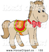 Clip Art of a Cute Beige Pony Horse Wearing a Red, Yellow and Orange Saddle and Bow by Alex Bannykh