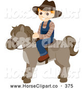 July 8th, 2013: Clip Art of a Cute Blond Boy Riding a Pony by BNP Design Studio