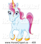 Clip Art of a Cute Blue Unicorn with Golden Hooves and Pink Hair by Yayayoyo