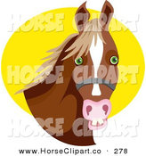 Clip Art of a Cute Bridled Brown Horse with Green Eyes Against a Yellow Circle by Prawny