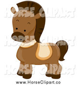 Clip Art of a Cute Brown Pony by BNP Design Studio