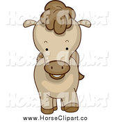 Clip Art of a Cute Brown Pony from the Front by BNP Design Studio
