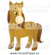 Clip Art of a Cute Brown Pony Horse by Alex Bannykh