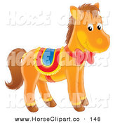 Clip Art of a Cute Brown Pony Horse with a Red Ribbon and Bow on Its Neck, Wearing a Saddle by Alex Bannykh