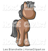 Clip Art of a Cute Brown Pony Horse with Black Hair Looking out at the Viewer by Leo Blanchette