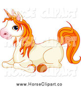 Clip Art of a Cute Cream Unicorn with Orange Hair, Resting by Pushkin