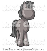 Clip Art of a Cute Gray Pony Horse with Black Hair Looking out at the Viewer by Leo Blanchette