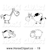 Clip Art of a Cute Group of Farm Animals; Black and White Horse, Cow, Pig and Sheep by Hit Toon