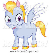 Clip Art of a Cute Happy Baby Pegasus by Yayayoyo
