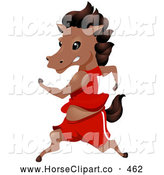 Clip Art of a Cute Healthy Horse in Clothes, Jogging Upright by BNP Design Studio