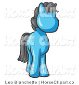 Clip Art of a Cute Light Blue Pony Horse with Black Hair Looking out at the Viewer by Leo Blanchette