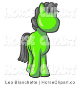 Clip Art of a Cute Lime Green Pony Horse with Black Hair Looking out at the Viewer by Leo Blanchette
