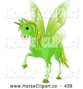 Clip Art of a Cute Magical Green Winged Unicorn by Pushkin