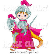 Clip Art of a Cute Medieval Knight Boy on His Horse by Pushkin