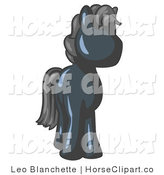 Clip Art of a Cute Navy Blue Pony Horse with Black Hair Looking out at the Viewer by Leo Blanchette