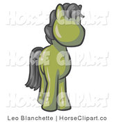 Clip Art of a Cute Olive Green Pony Horse with Black Hair Looking out at the Viewer by Leo Blanchette