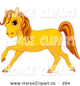Clip Art of a Cute Orange Horse Prancing to the Left on White by Pushkin