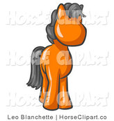 Clip Art of a Cute Orange Pony Horse with a Black Mane Looking out at the Viewer by Leo Blanchette