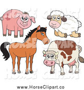 Clip Art of a Cute Pig, Sheep, Horse and Cow by Visekart