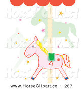 Clip Art of a Cute Pink Carousel Horses and Stars on a Merry Go Round by Cherie Reve