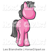 Clip Art of a Cute Pink Pony Horse with a Black Mane Looking out at the Viewer by Leo Blanchette