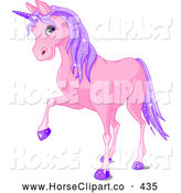 Clip Art of a Cute Purple Unicorn with Sparkly Hair and Hooves by Pushkin