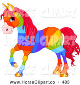 Clip Art of a Cute Rainbow Colored Horse with Golden Hooves and Red Hair by Pushkin