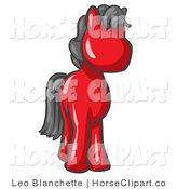 Clip Art of a Cute Red Pony Horse with Black Hair Looking out at the Viewer by Leo Blanchette