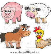 Clip Art of a Cute Sheep, Pig, Brown Horse and Chicken by Visekart