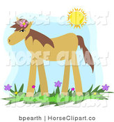 Clip Art of a Cute Tan Pony Wearing a Flower in Its Mane, Standing in a Spring Flower Field Under the Sunshine by