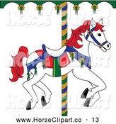 Clip Art of a Cute White Carousel Horse with Red Hair by Pams Clipart