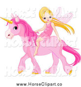 Clip Art of a Cute White Little Fairy Riding on a Pink Unicorn by Pushkin
