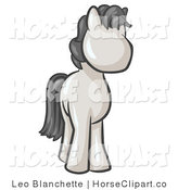 Clip Art of a Cute White Pony Horse Looking out at the Viewer, to the Right by Leo Blanchette